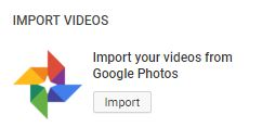 YouTube Import videos from Google Drive button