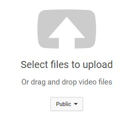 YouTube Select files to Upload arrow