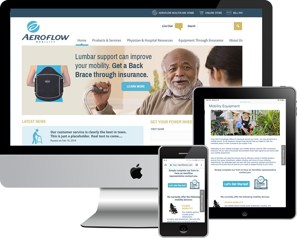 Responsive, custom WordPress multi site for Aeroflow Healthcare