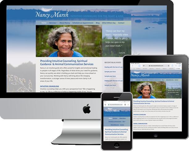 Logo, custom and responsive Wordpress site and SEO for Nancy Marsh